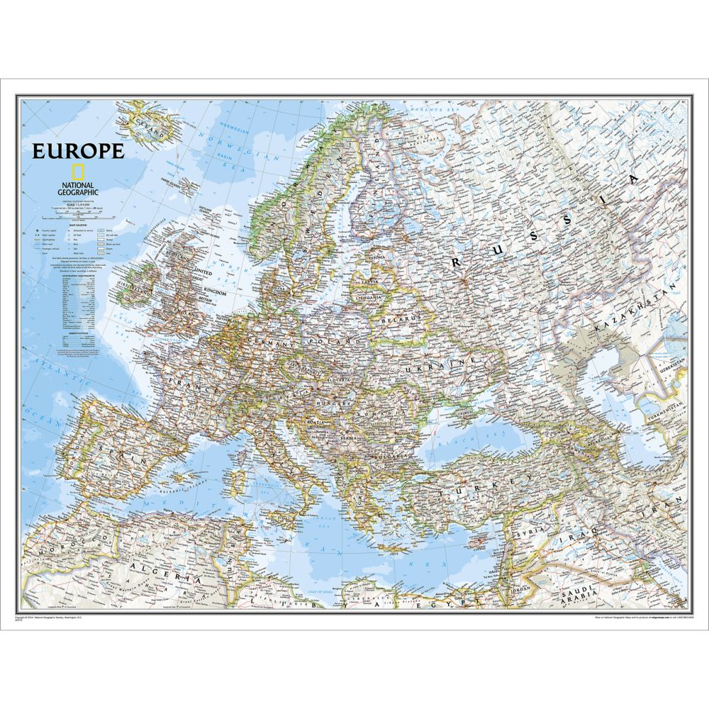 Europe Classic Wall Map, Enlarged