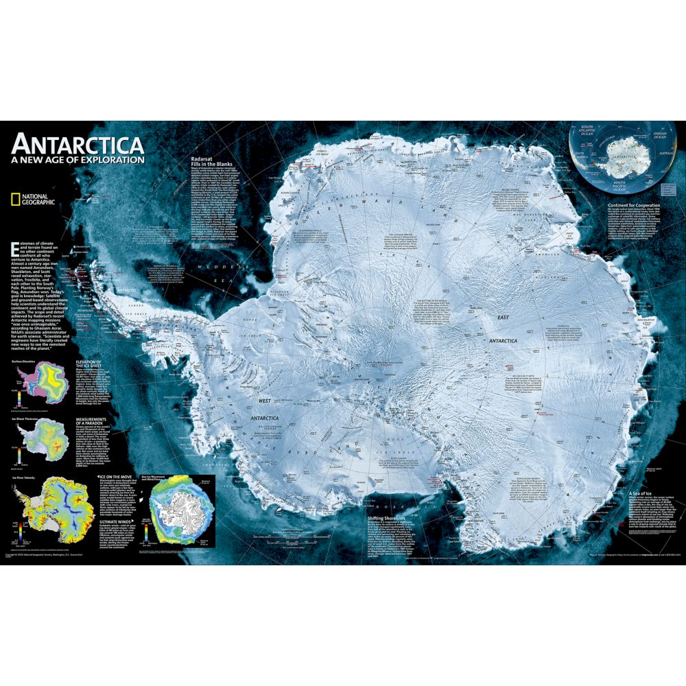 Continent Antarctica DVD National Geographic Store - Antarctica physical map cities