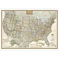 US Wall Maps Laminated US Map Posters National Geographic Store - Large us road wall map