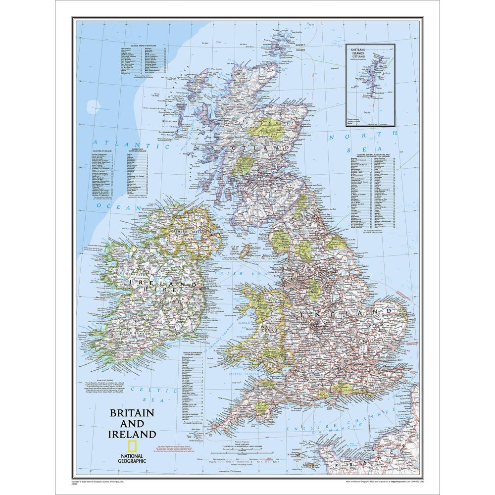 Britain and Ireland Classic Wall Map, Laminated