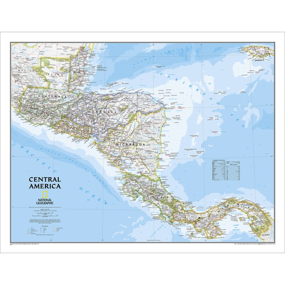 Central America Classic Wall Map, Laminated