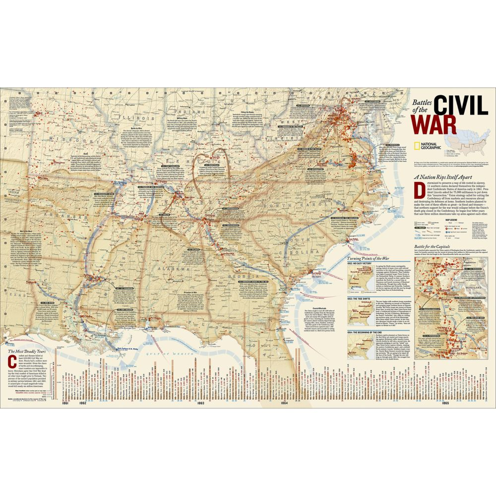 Battles of the Civil War Wall Map, Laminated