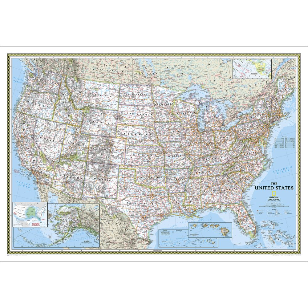 United States Explorer Wall Map Laminated National Geographic Store - Map of usa with states and capitals and major cities