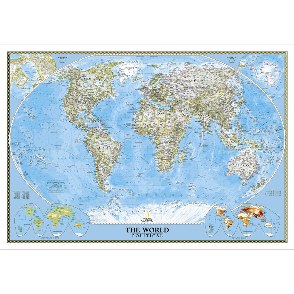 World Classic Wall Map Enlarged and Laminated National Geographic Store