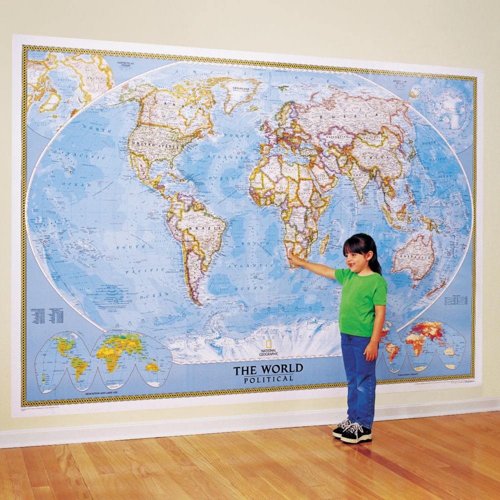 The World For Kids Wall Map National Geographic Store - Us map with world map in the corner