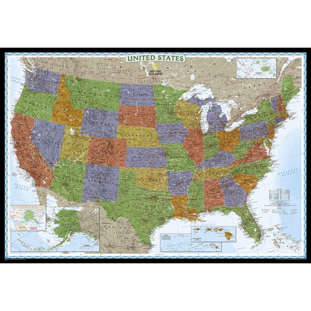 United States Classic Wall Map Poster Size And Laminated - World us map