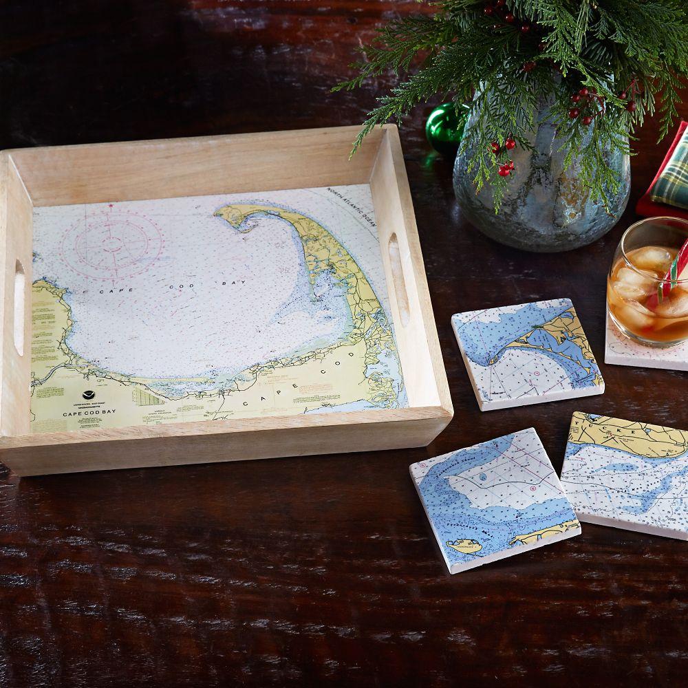 Custom Nautical Chart Coasters and Tray Set