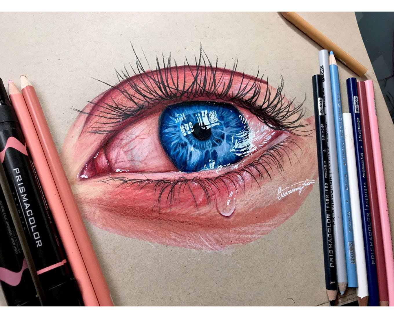 Continue pushing the contrast further highlights are added to the pupil to give the illusion of realistic watery eyes