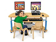 Heavy-Duty Adjustable Mobile Computer Station for Two