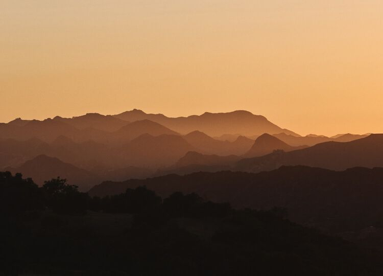 Suggestive hills at sunset mobile