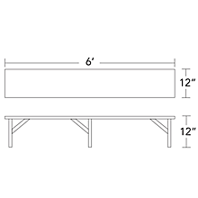 "Check out the Rectangular Table Riser 6'L x 12""W x 12""H for rent"