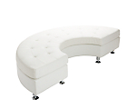 Metro White Tufted Curved Bench