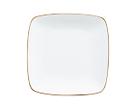 White Square Rounded Rim Lunch Gold Border 9 in.