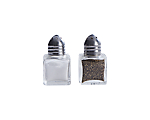 Salt & Pepper Glass Cube w/ Silver Top