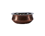 Bowl Antique Copper Round Moroccan 6 in.