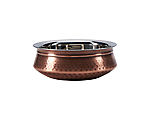 Bowl Antique Copper Round Moroccan 8 in.