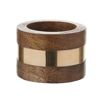 Example of Gold Band Teak Wood Napkin Ring