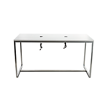 """Check out the Communal Charging Table 7' L x 36"""" W x 42"""" H White and Stainless Steel for rent"""