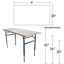 Check out the Rectangular Table Adjustable Legs for rent