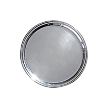 Check out the Silver Round Hammered Grooved Tray for rent
