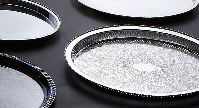 Group picture of Silver Trays and Platters