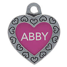 TagWorks® Designer Collection Small Heart Personalized Pet ID Tag