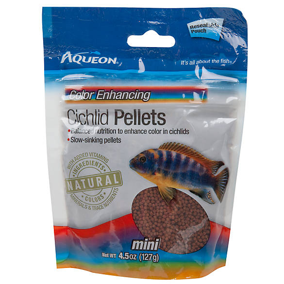 Aqueon cichlid color enhancing mini pellets fish food for Purina tropical fish food