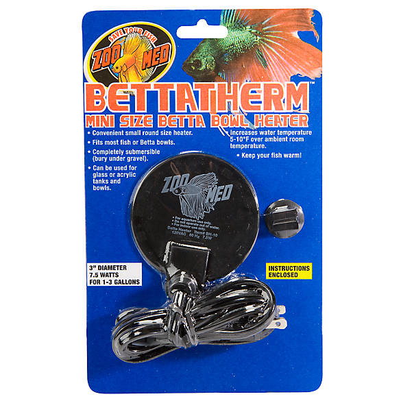 Zoo med betta therm mini size betta bowl heater fish for Betta fish tanks petsmart