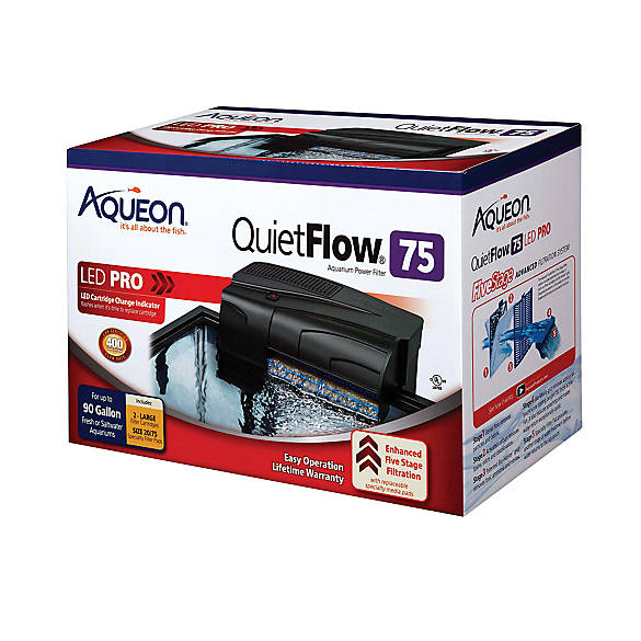 Aqueon quietflow aquarium power filter 55 75 fish for Quiet fish tank filter