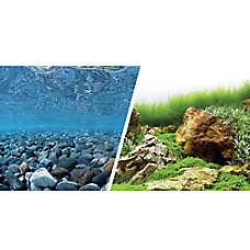 Marina® Reversible Precut River Rock & Sea of Green Aquarium Background