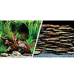 Marina® Reversible Precut Planted Oasis & Slate Wall Aquarium Background