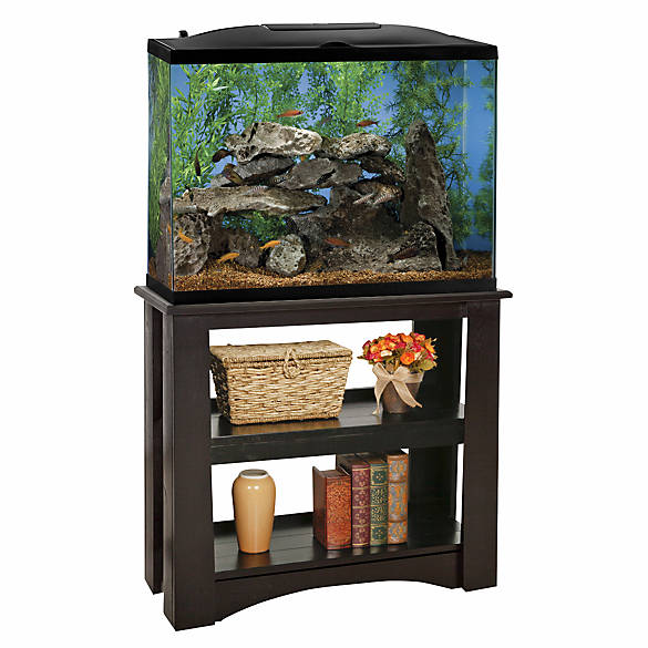 Marineland 37 gallon led hood aquarium stand ensemble for Fish tank hoods