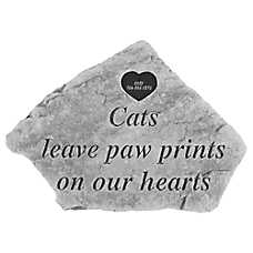 Kay Berry Paw Print Heart Tag Personalized Cat Memorial Stone