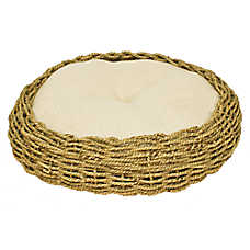 Ware Seagrass & Burlap Round Cat Bed