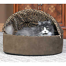 Thermo-Kitty Bed™ Deluxe Hooded Leopard Heated Cat Bed