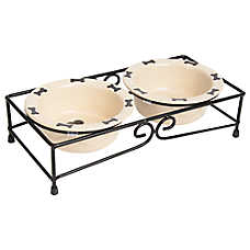 Top Paw® Double Diner Dog Stand With Bowls
