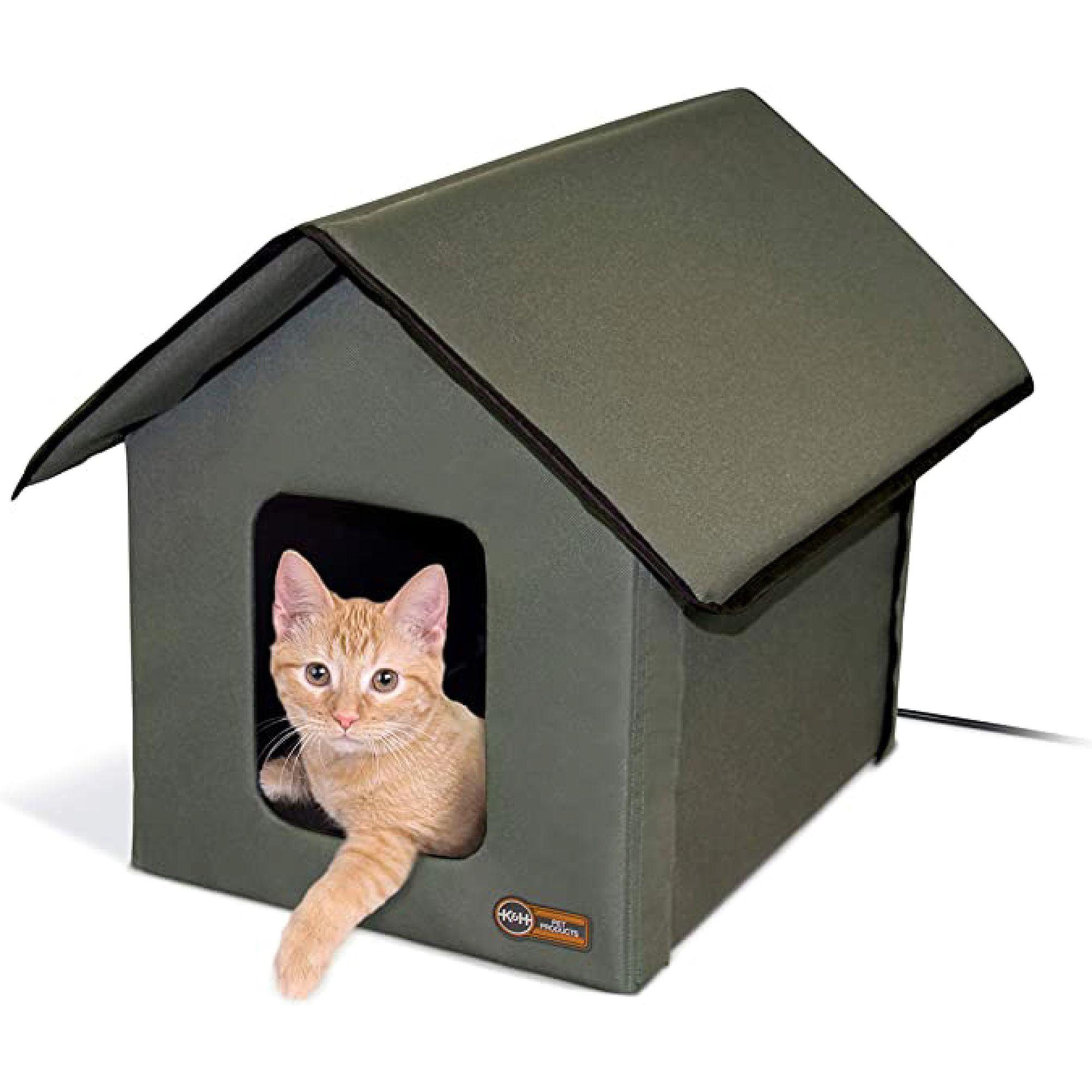 Heated Cat House K H Heated Outdoor Cat House Petsmart