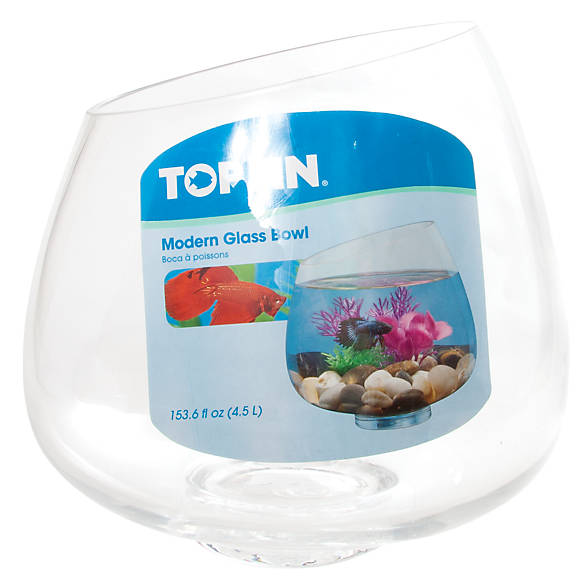 Top fin modern betta glass bowl fish aquariums petsmart for Betta fish tanks petsmart