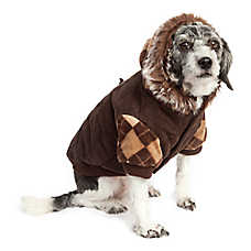 Pet Life Argyle Sweat Suede Coat With Removable Hood