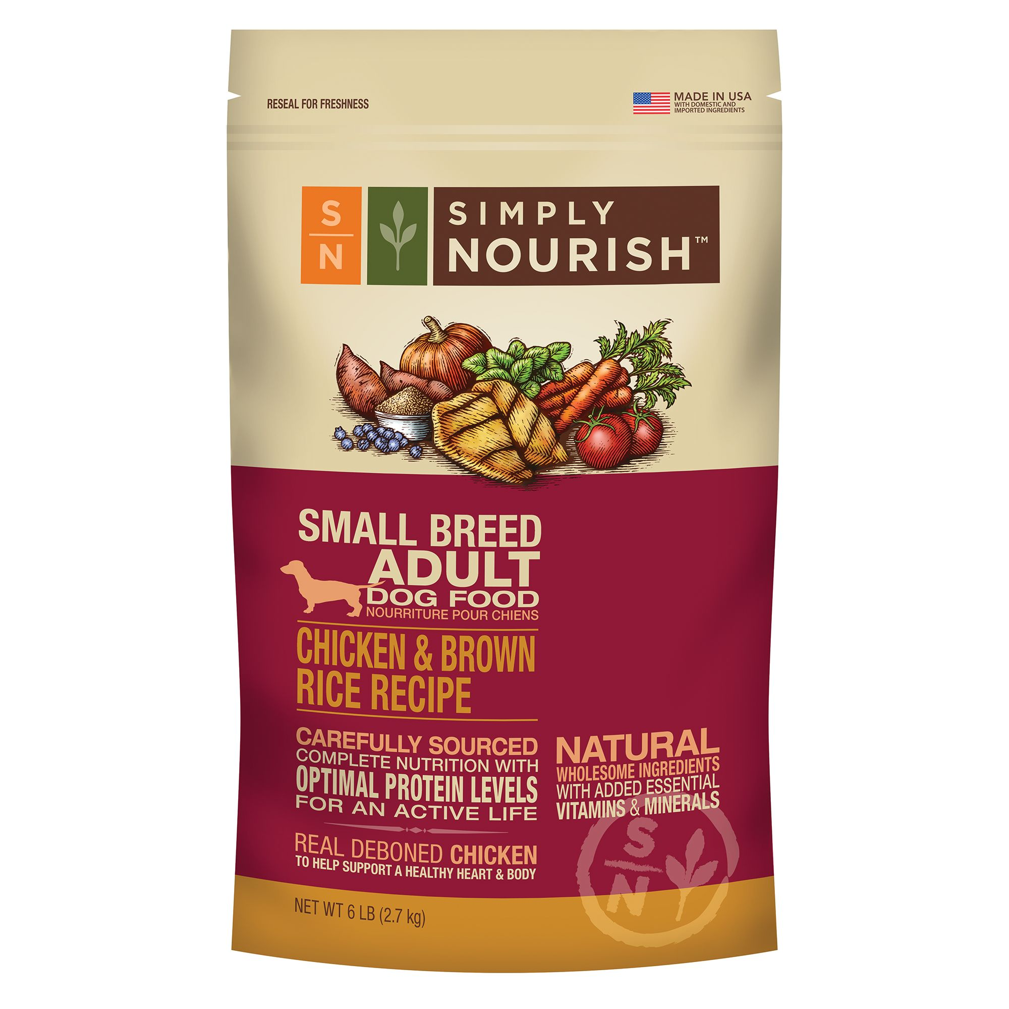 Simply Nourish Small Breed Adult Dog Food Natural Chicken Brown Rice