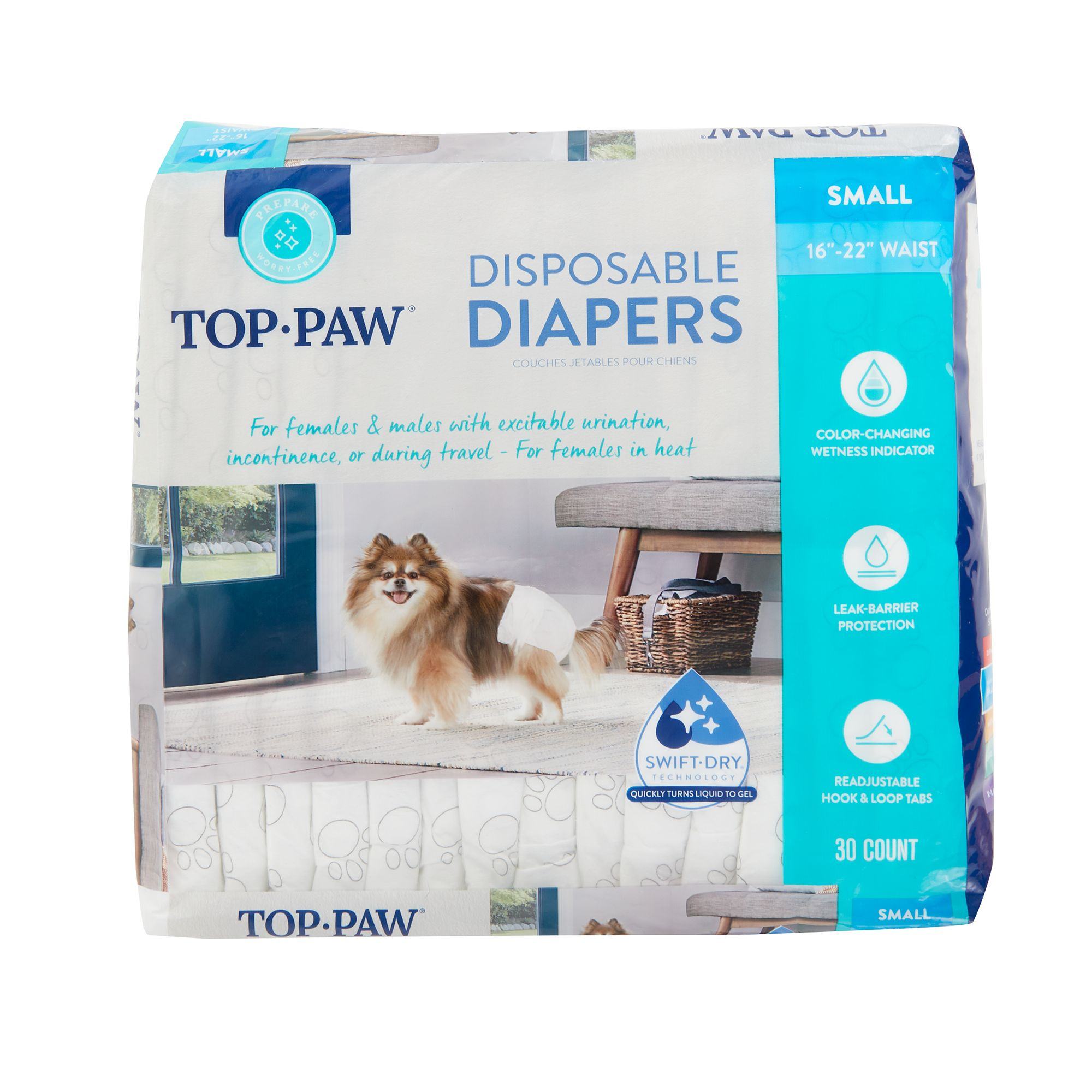 Top Paw Disposable Dog  Diapers Large 35-55 FEMALE Opened Pkg of 11