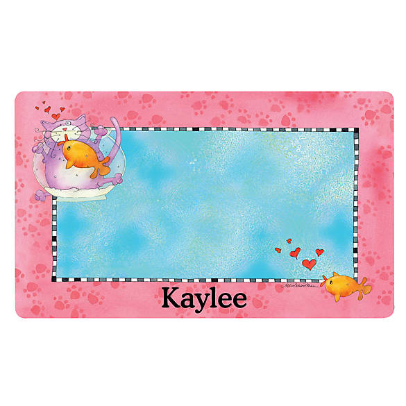 Drymate fish bowl personalized placemat cat placemats for Fish bowl petsmart