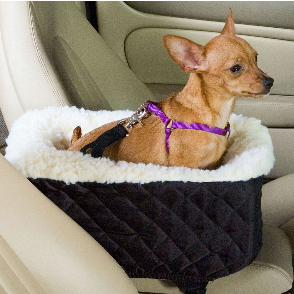Front /& Rear Pet Booster Seat Dog Car Seat in ivory faux leather