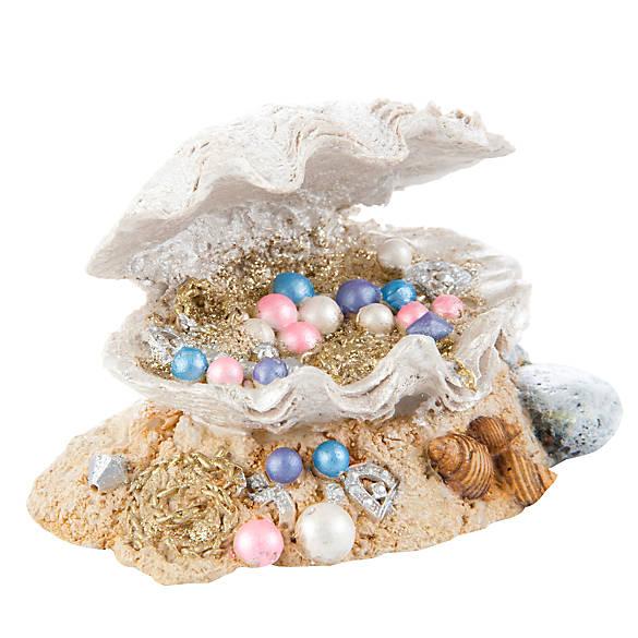 Top fin clamshell treasure aquarium ornament fish for Petsmart fish decor