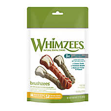 WHIMZEES Brushzees Medium Dental Dog Treat - Natural, Grain Free