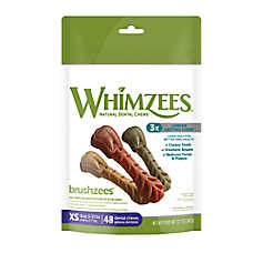 WHIMZEES Brushzees Extra Small Dental Dog Treat - Natural, Grain Free
