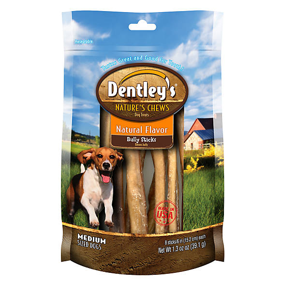 dentley 39 s nature 39 s chews natural flavor medium breed bully stick dog treat dog bones. Black Bedroom Furniture Sets. Home Design Ideas