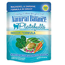 Natural Balance Platefulls Indoor Adult Cat Food - Grain Free, Mackerel & Sardine