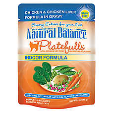 Natural Balance Platefulls Indoor Adult Cat Food - Grain Free, Chicken & Chicken Liver