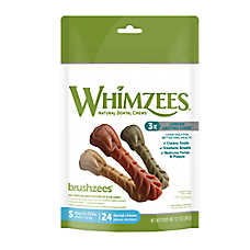 WHIMZEES Brushzees Small Dental Dog Treat - Natural, Grain Free